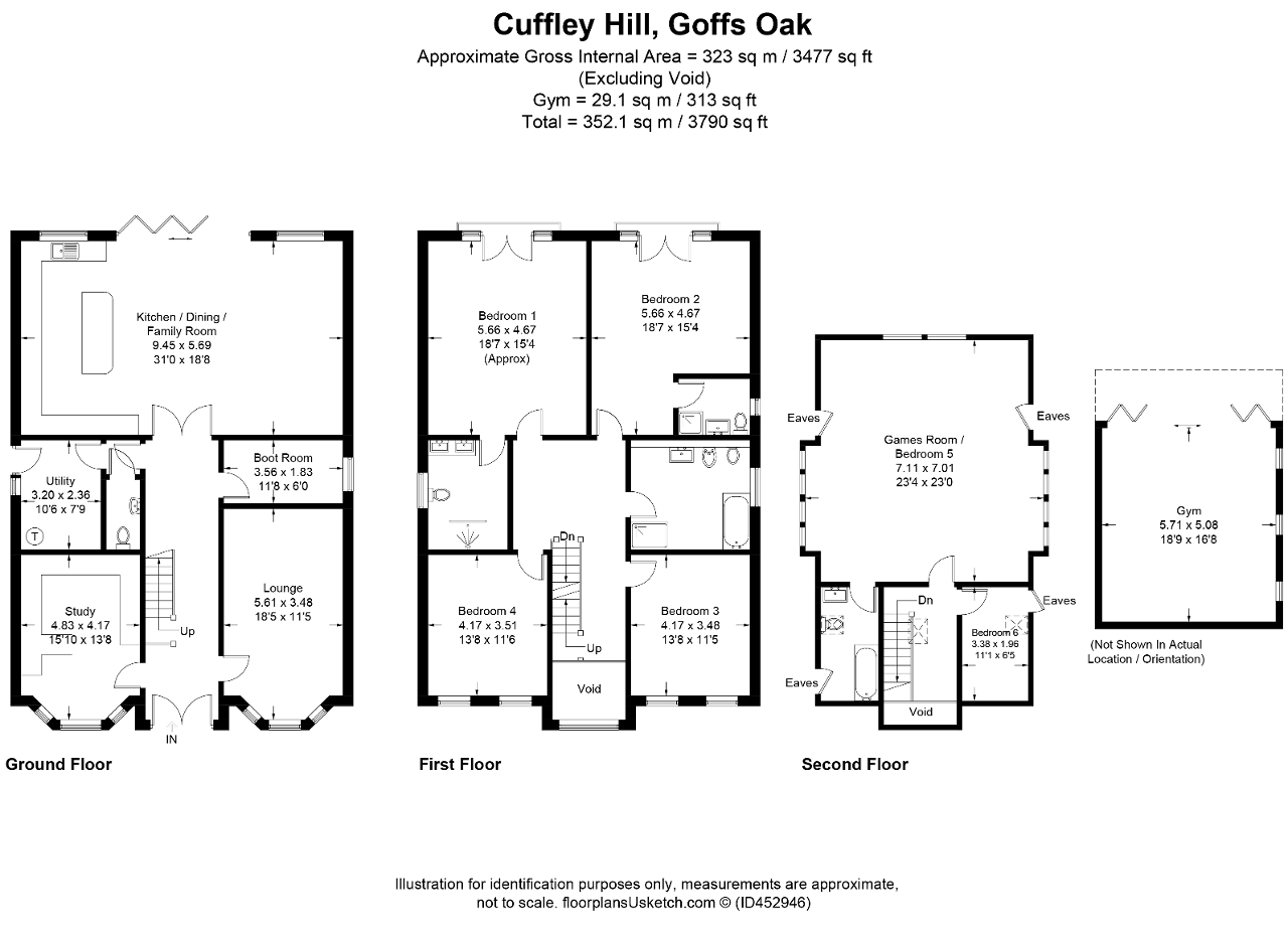 Floorplan of Cuffley Hill, Goffs Oak, EN7 5EY